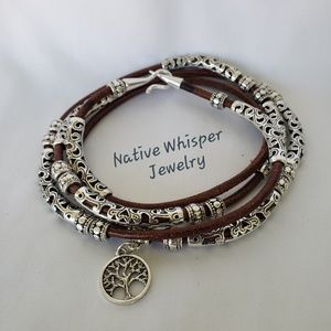 Tree of life leather and silver wrap bracelet